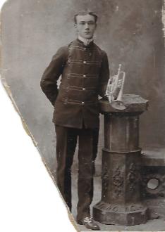 Richard Wallace Williams holding his cornet.