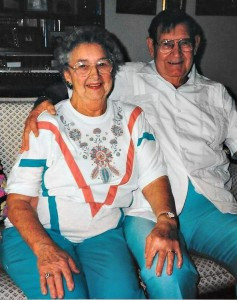 Dorothy and Millard Huson sitting together.