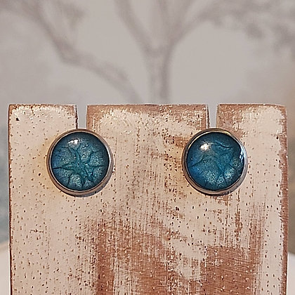 Round Stud Earrings - Sea Blue