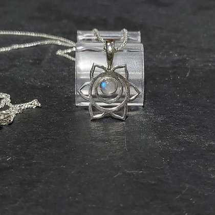 Open Flower & Moonstone Pendant