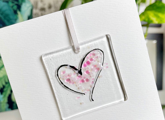 Heart Fused Glass Card