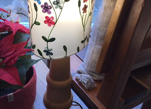 Oval Lamp Shade - White Embroidered Flowers