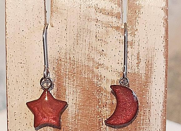 Star & Moon Drop Earrings - Cherry