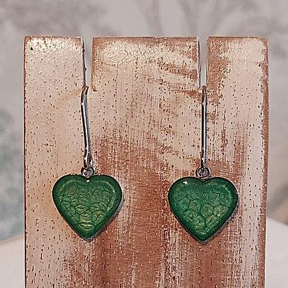 Heart Drop Earrings - Emerald