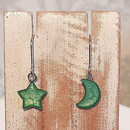 Star & Moon Drop Earrings - Emerald