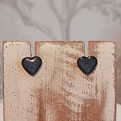 Heart Stud Earrings - Night Blue