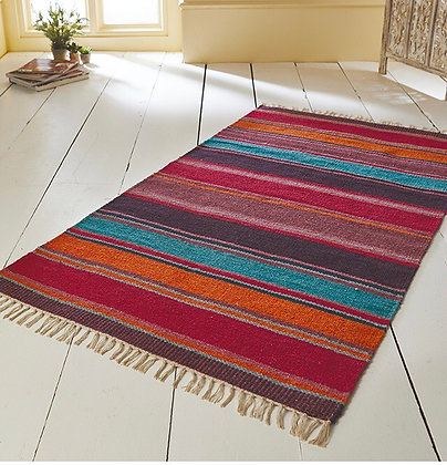 Multi Striped Hand Loom Recycled Cotton Rug - 90x150cm