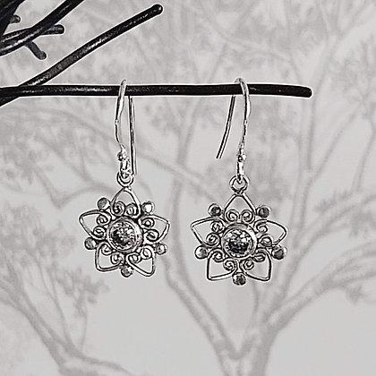 Zircon Flower Drop Earrings