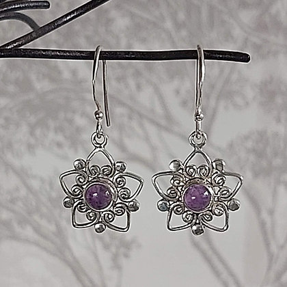 Amethyst Flower Drop Earrings