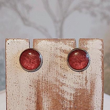 Round Stud Earrings - Cherry