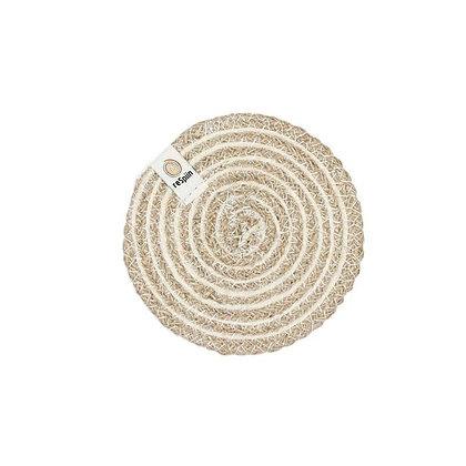 Jute Spiral Coaster - White