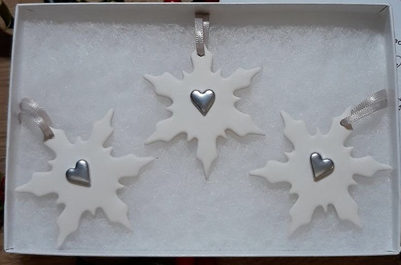 Silver Heart Snowflakes Hanging Decorations - Set of 3