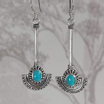 Turquoise Half Circle Drop Earrings