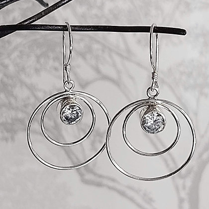Zircon Double Hoop Drop Earrings
