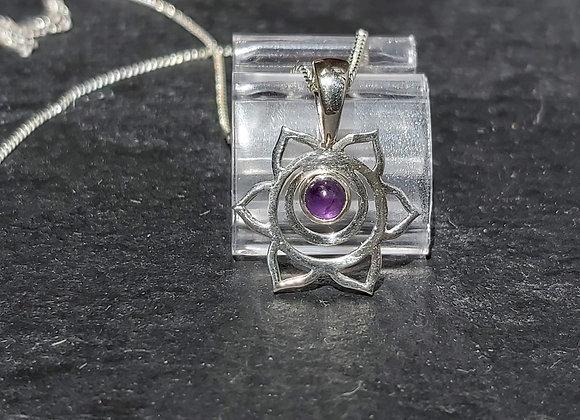 Open Flower & Amethyst Stone Pendant