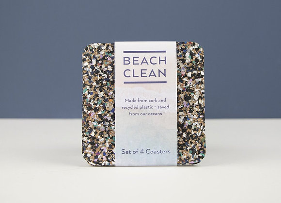 Beach Clean Square Coasters - Set of 4