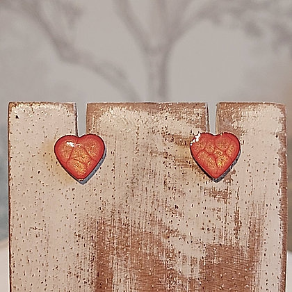 Heart Stud Earrings - Orange