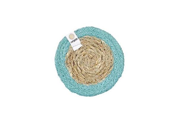 Seagrass & Jute Coaster - Turquoise