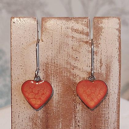 Heart Drop Earrings - Orange