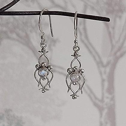 Moonstone Orchid Flower Drop Earrings
