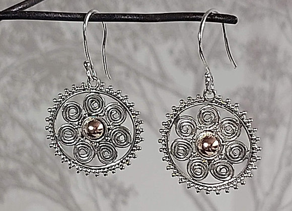 7 Spiral with Gold Centre Drop Earrings