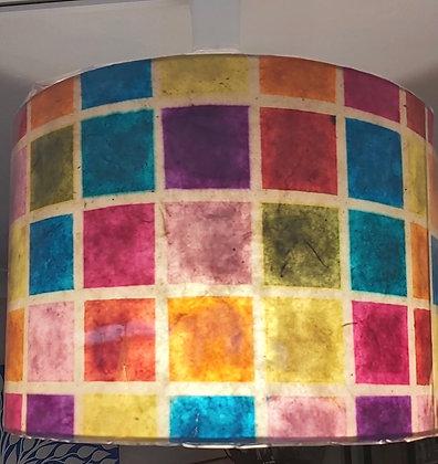 Drum Lamp Shade - Batik Multi Coloured Squares