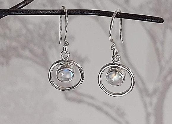 Moonstone Stone in Hoop Drop Earrings