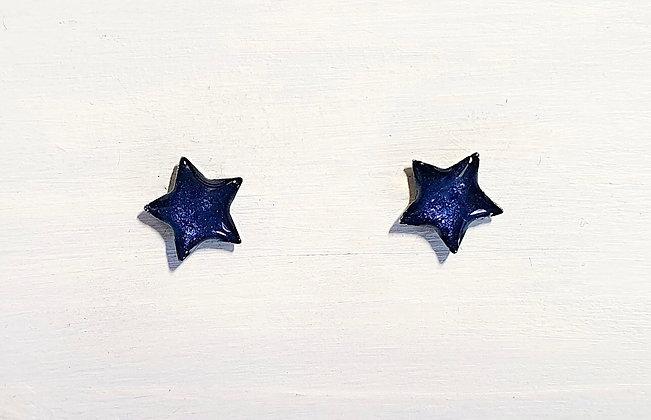 Mini Star Stud Earrings - Midnight Pearl