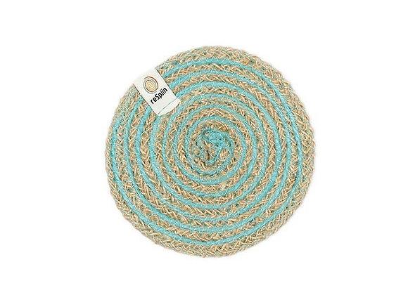 Jute Spiral Coaster - Turquoise
