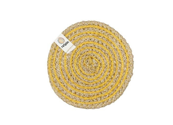 Jute Spiral Coaster - Yellow
