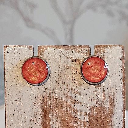 Round Stud Earrings - Orange