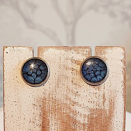 Round Stud Earrings - Night Blue