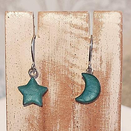 Star & Moon Drop Earrings - Turquoise