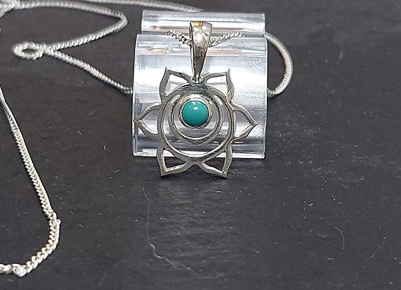 Open Flower & Turquoise Stone Pendant