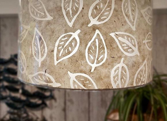 Drum Lamp Shade - Batik Leaf - Natural