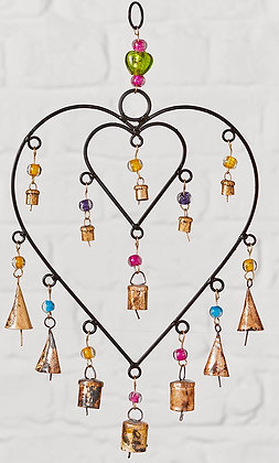 Double Heart Wind Chime