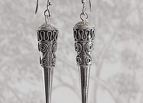 Cone with Spirals Drop Earrings