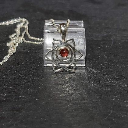 Open Flower & Garnet Stone Pendant