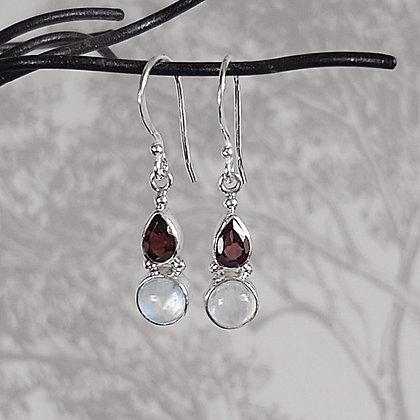Garnet & Moonstone Twin Drop Earrings