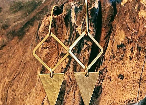 Diamond & Triangle Drop Earrings