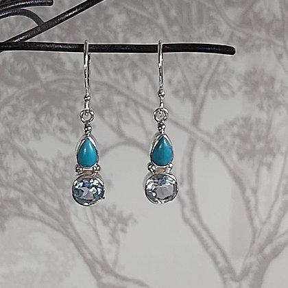 Turquoise & Aquamarine Drop Earrings