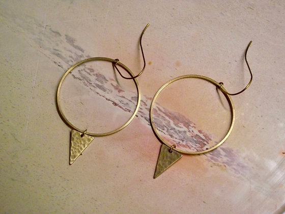 Circle & Slim Triangle Drop Earrings
