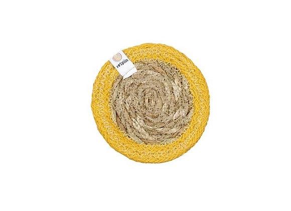 Seagrass & Jute Coaster - Yellow