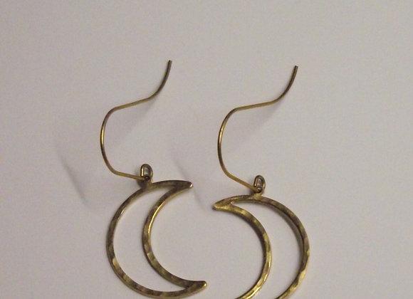 Open Crescent Moon Drop Earrings