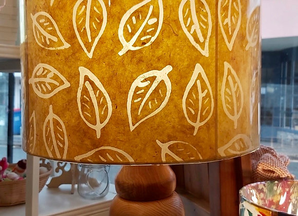 Drum Lamp Shade - Batik Leaf - Yellow