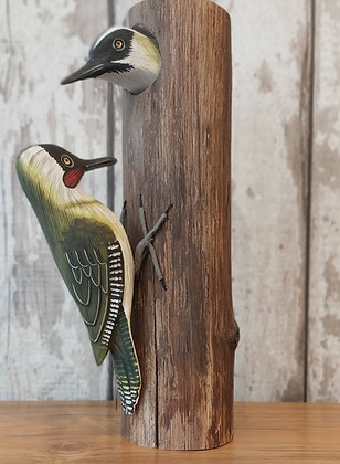 Handcarved Green Woodpecker Duo