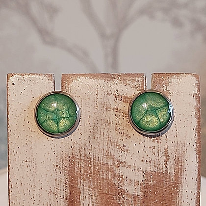 Round Stud Earrings - Emerald