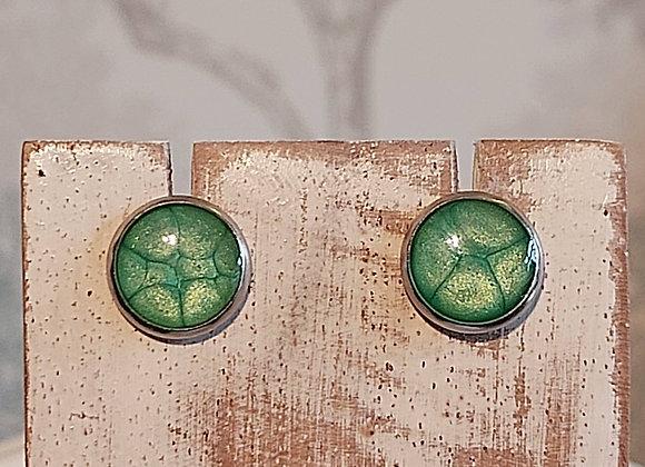 Round Stud Earrings - Emerald
