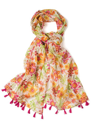 Flower/Butterfly Cotton Scarf