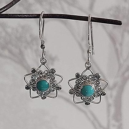 Turquoise Small Flower Drop Earrings